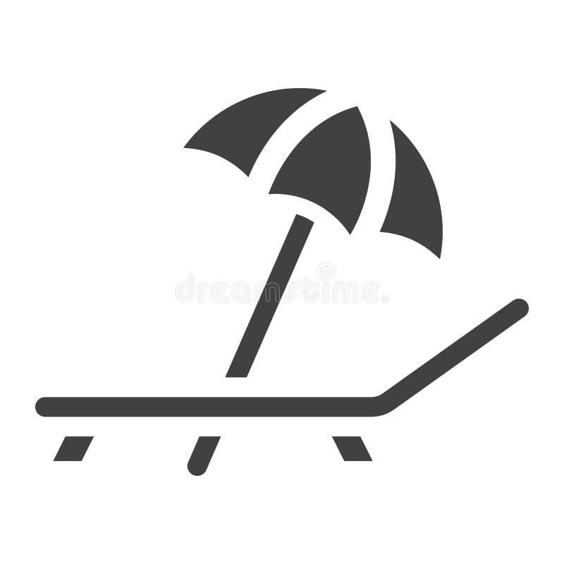 Parasol de playa con el icono sólido del deckchair, viaje ilustración del vector