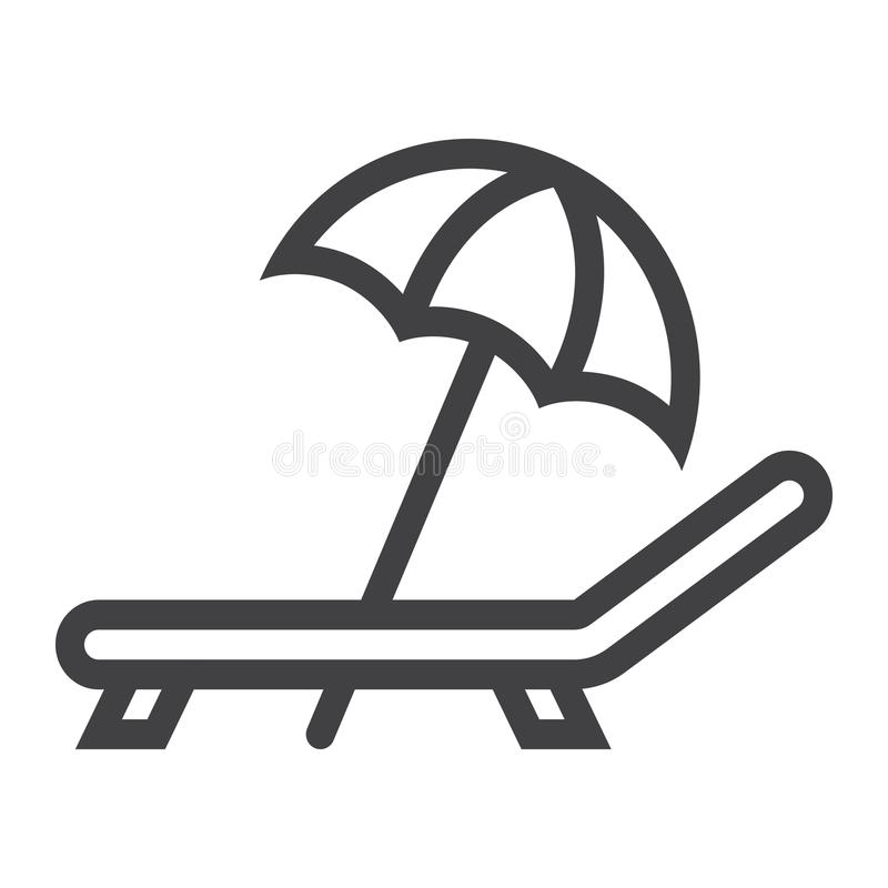 Parasol de playa con la línea icono, viaje del deckchair libre illustration