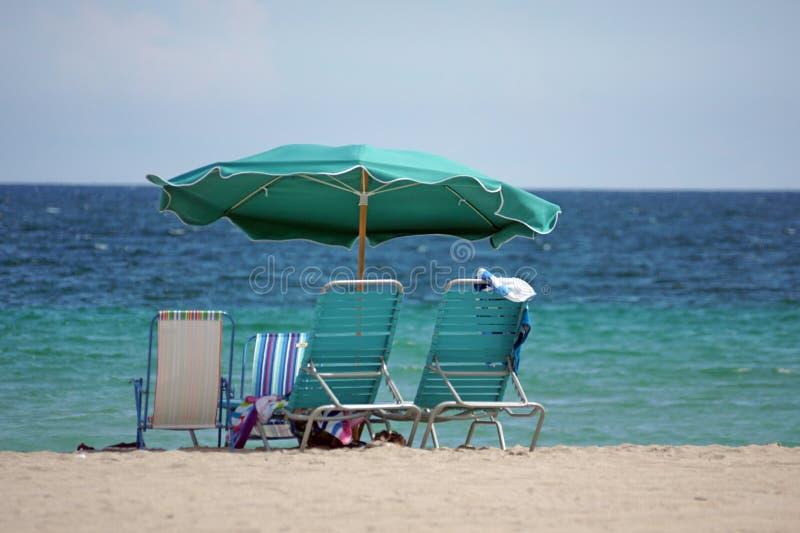 Parasol de playa en Dania Beach, en Fort Lauderdale, la Florida foto de archivo libre de regalías