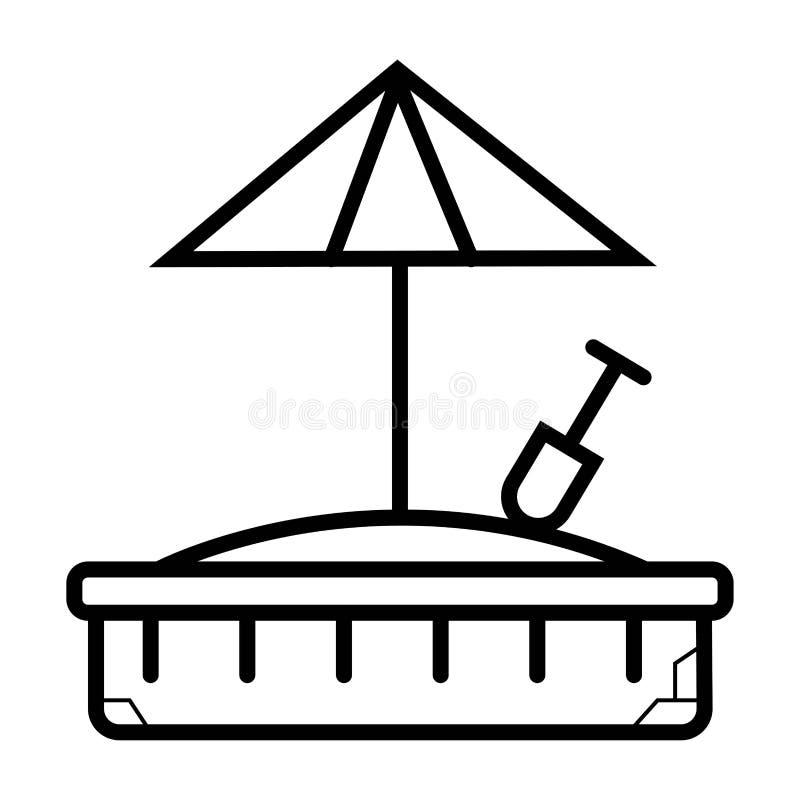 Parasol de playa en icono de la arena Cubo con la muestra de la pala Summe del bebé stock de ilustración