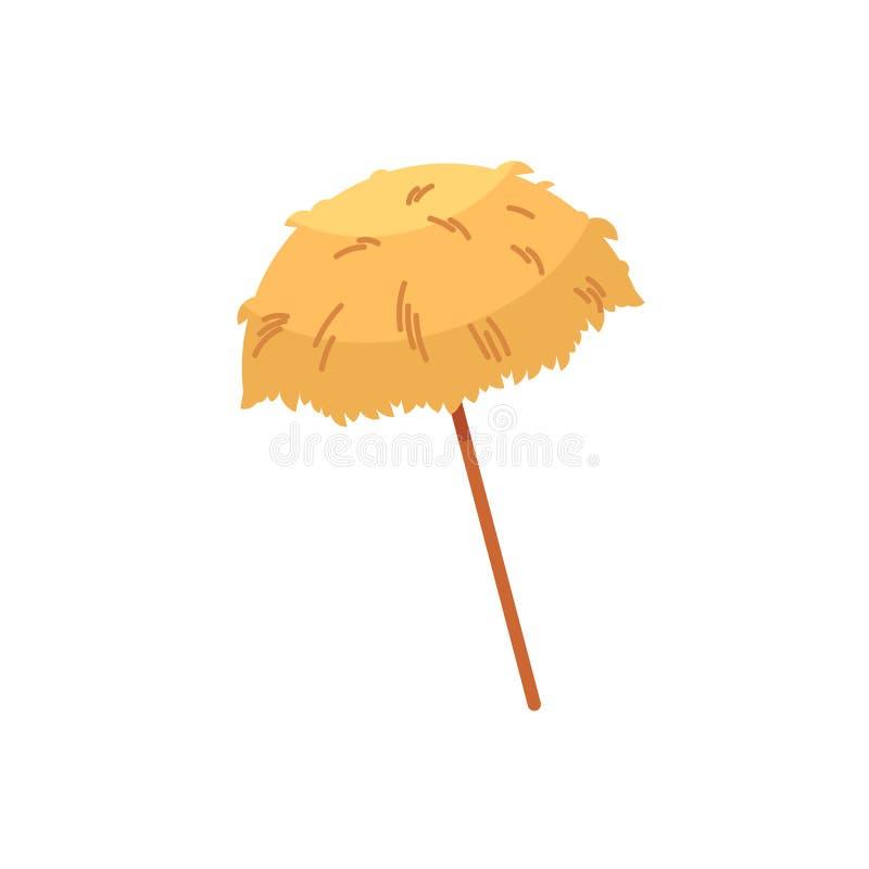 Parasol de playa hawaiano del tiki de la paja, sombrilla stock de ilustración