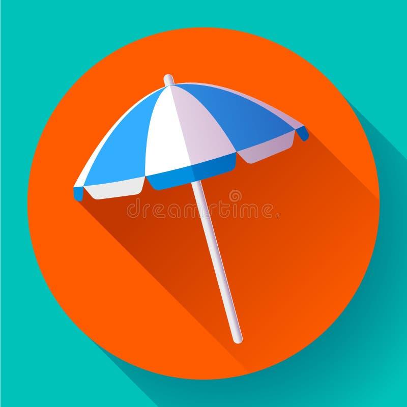 Parasol de playa, icono de la visión superior Vector Estilo plano del diseño stock de ilustración