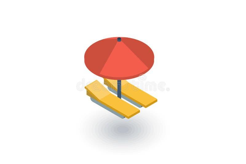 Parasol de playa, sunbed, vacaciones que broncean el icono plano isométrico vector 3d ilustración del vector