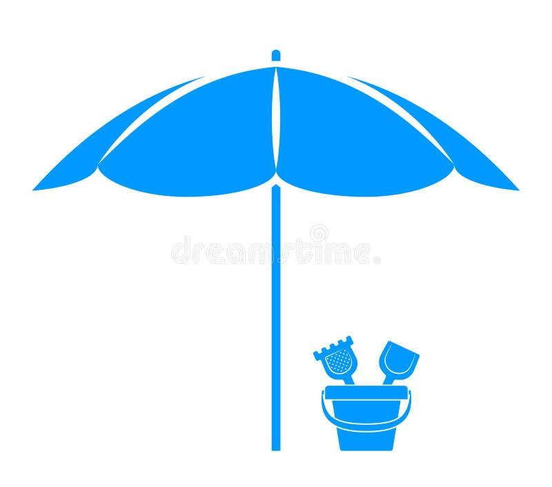 Parasol de playa y cubo de la arena libre illustration