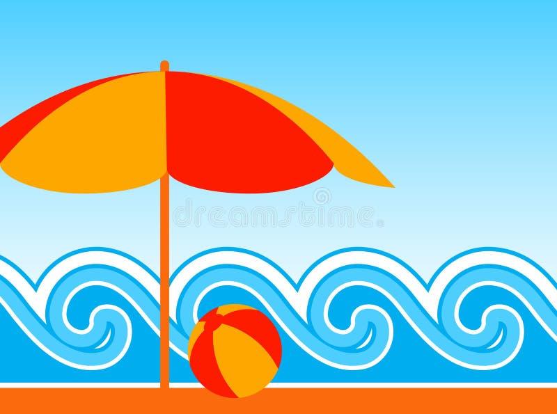 Parasol de playa y ondas ilustración del vector