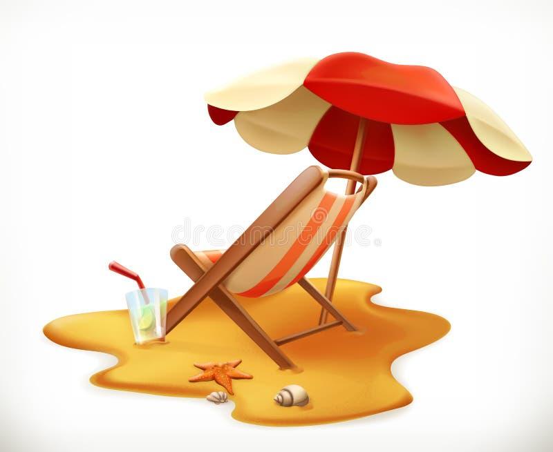 Parasol de playa y sillón, icono del vector stock de ilustración