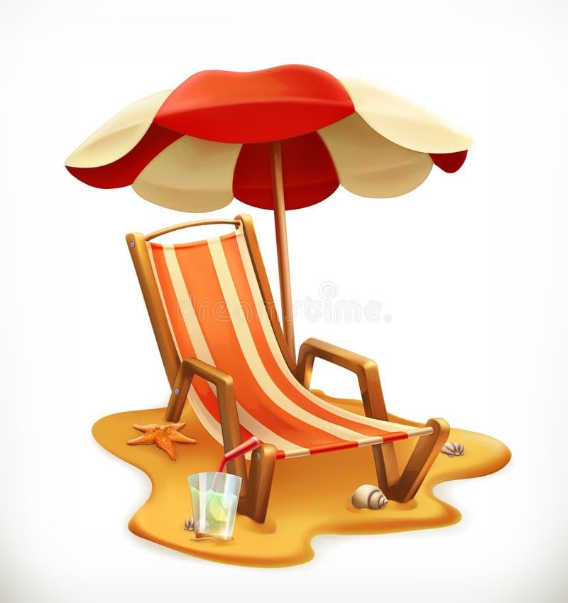 Parasol de playa y sillón, icono del vector ilustración del vector