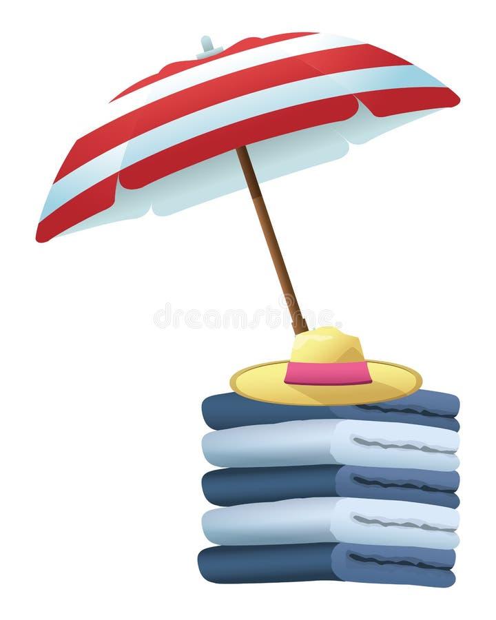 Parasol de playa y sombrero con las toallas del algodón libre illustration