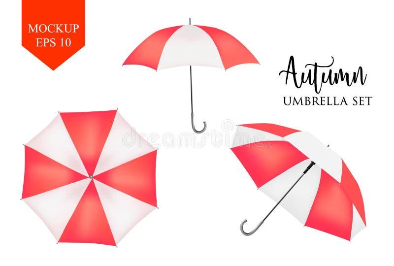 Parasol del vector, sombrilla del paraguas de la lluvia rojo, mofa rayada de la ronda para arriba stock de ilustración