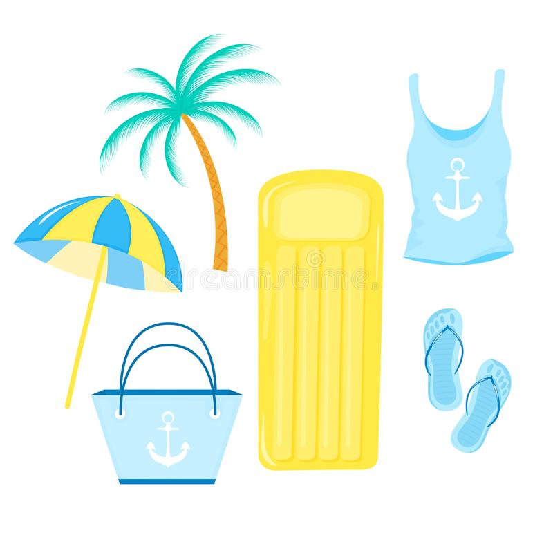 Parasol, inflatable mattress, women`s t-shirt, bag, slippers. Items for a beach summer holiday vector illustration