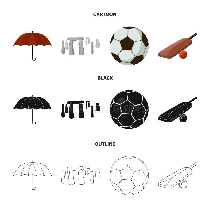 Parasol, kamień, piłka, krykiet Anglia kraju ustalone inkasowe ikony w kreskówce, czerń, konturu symbolu stylowy wektorowy zapas ilustracja wektor