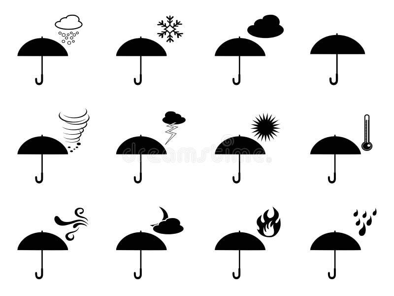 Parasol pogodowe ikony royalty ilustracja