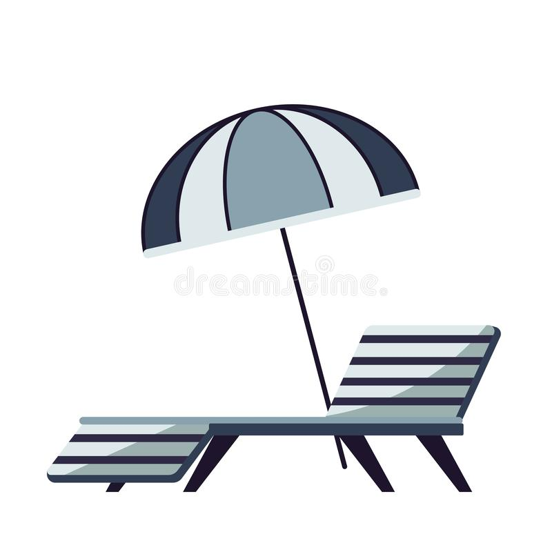 Parasol and recliner hotel outdoor pool furniture recreation. Recreation and resort parasol and recliner hotel outdoor pool furniture vector isolated object royalty free illustration
