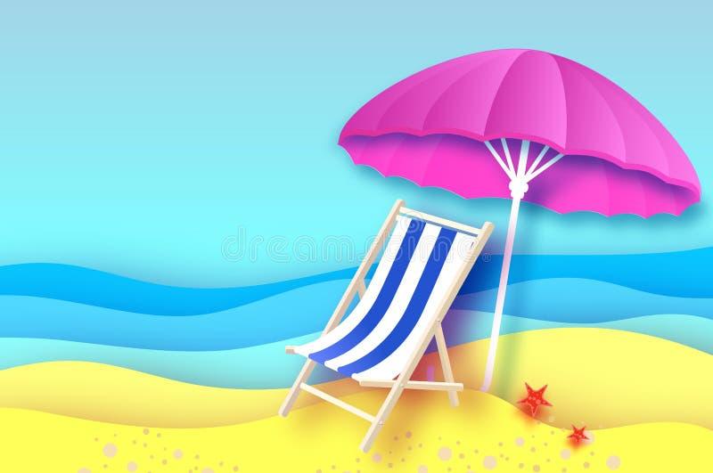 Parasol rosado - el paraguas en papel cortó estilo Salón azul de la calesa Mar y playa de la papiroflexia Vacaciones y concepto d stock de ilustración