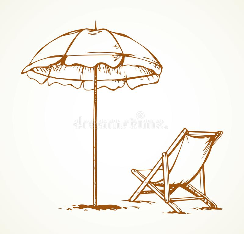 Parasol. Vector drawing. Open hotel cover shelter stand on sky space for text. Line black ink hand drawn tropic trip seashore hot camp tan comfort lie seat sign vector illustration