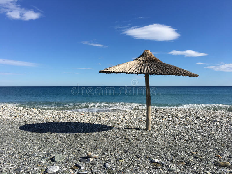 Parasol at velika beach. In Greece stock image