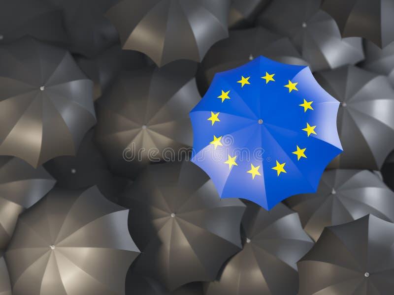 Parasol z flaga europejski zjednoczenie royalty ilustracja