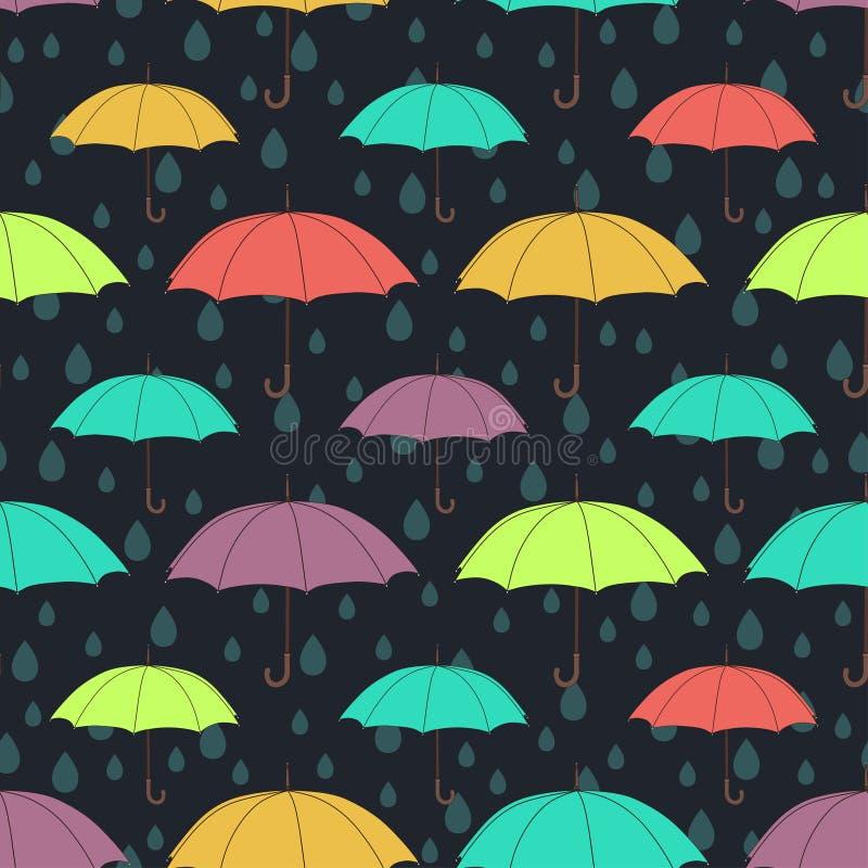 Parasola bezszwowy wzór, wektorowy tło Stubarwni jaskrawi parasole i raindrops na zmroku - błękitny tło royalty ilustracja