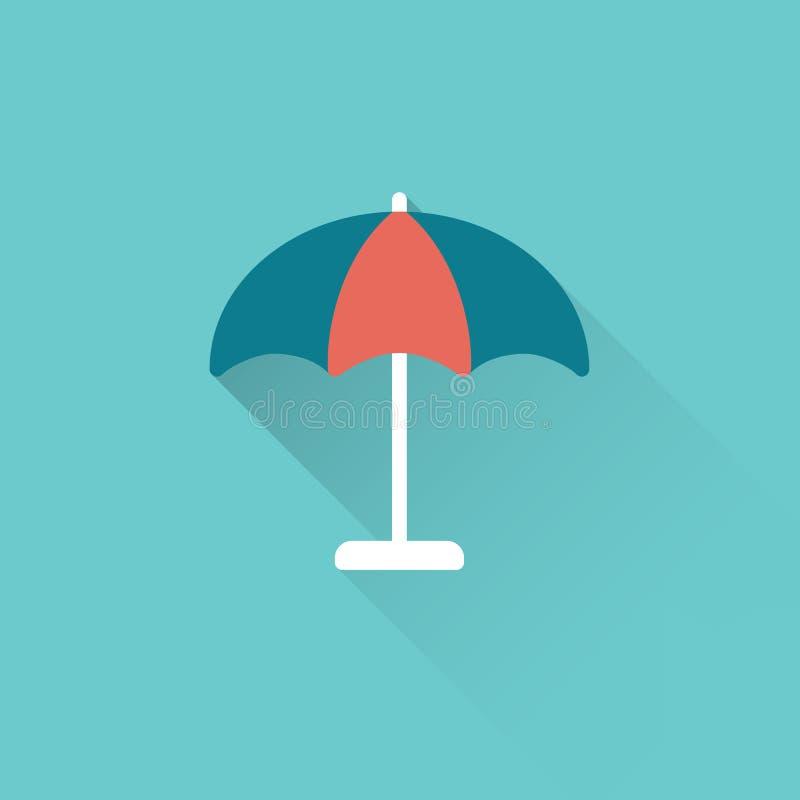 Parasole piano, icona dell'ombrello su fondo blu illustrazione vettoriale