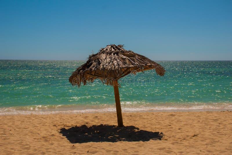 Parasole są na pięknej plaży Kuba trinidad Ancona Wyrzucać na brzeg morze karaibskie zdjęcie royalty free
