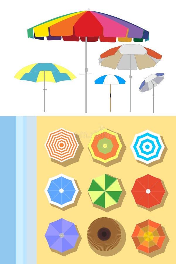 Parasoles en la playa stock de ilustración