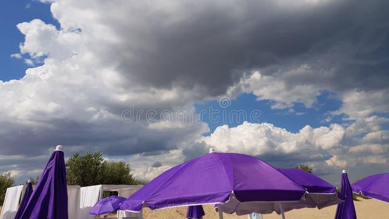 Parasoli porpora sul fondo del cielo nuvoloso fotografia stock