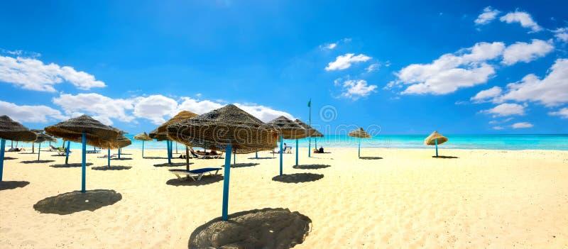 Parasoller på den sandiga stranden på den soliga dagen Nabeul Tunisien, Nort royaltyfria bilder