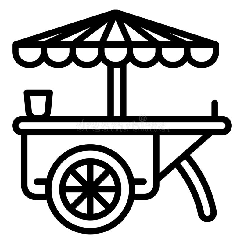Parasolowa fury ikona, konturu styl ilustracji