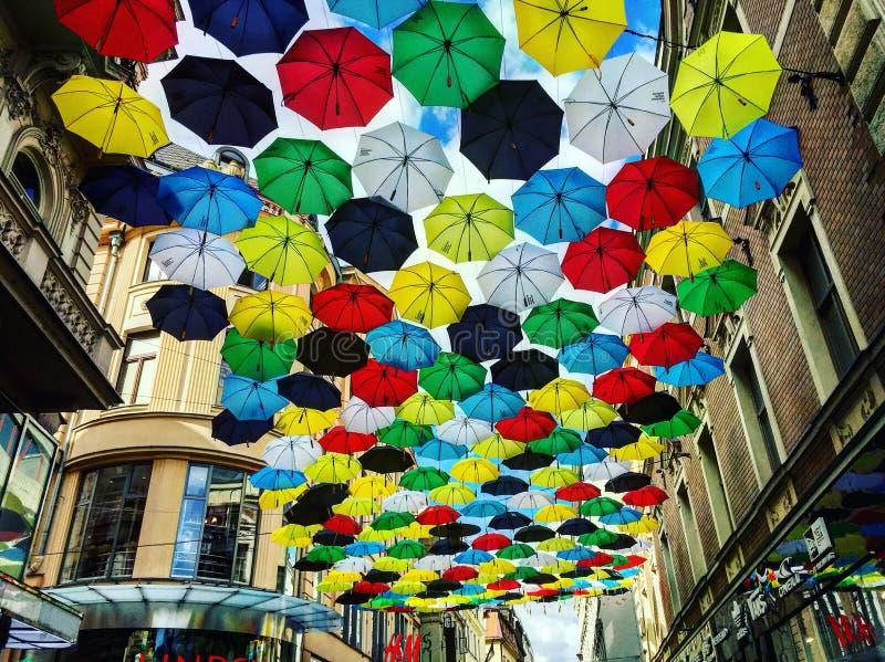 Parasolowa ulica obrazy royalty free