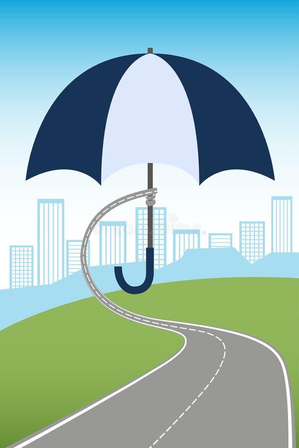 Parasolowy chronienia miasto ilustracji