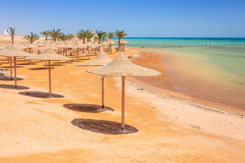 Parasols on the beach of Red Sea in Hurghada royalty free stock photos