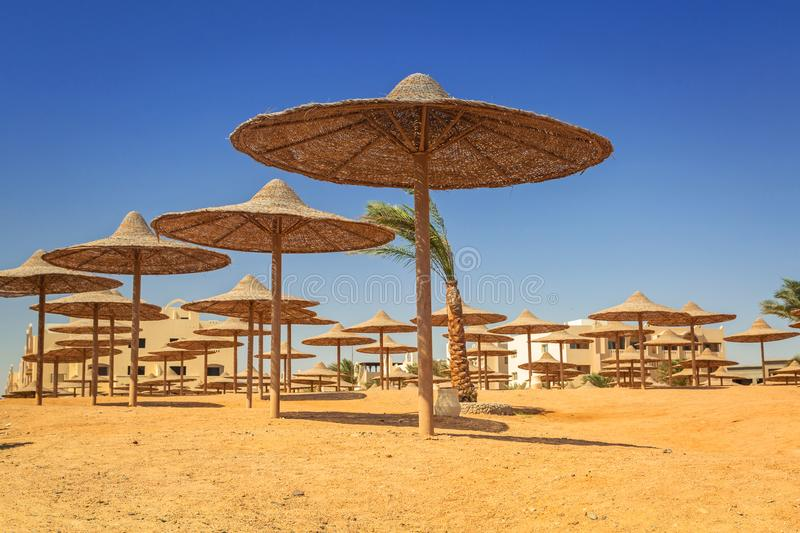 Parasols on the beach of Red Sea stock photos