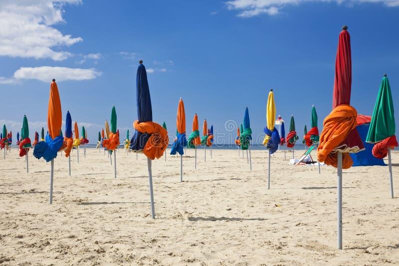 Parasols, Deauville Beach, Normandy France, Europe. The famous colorful parasols on Deauville Beach, Normandy, Northern France, Europe royalty free stock image