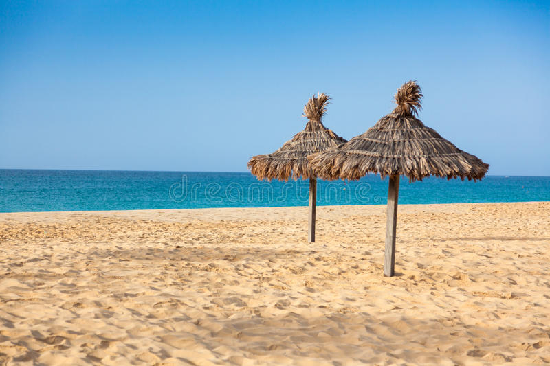 Parasols at Santa Maria beach in Sal Island - Cape Verde - Cabo. Verde royalty free stock images
