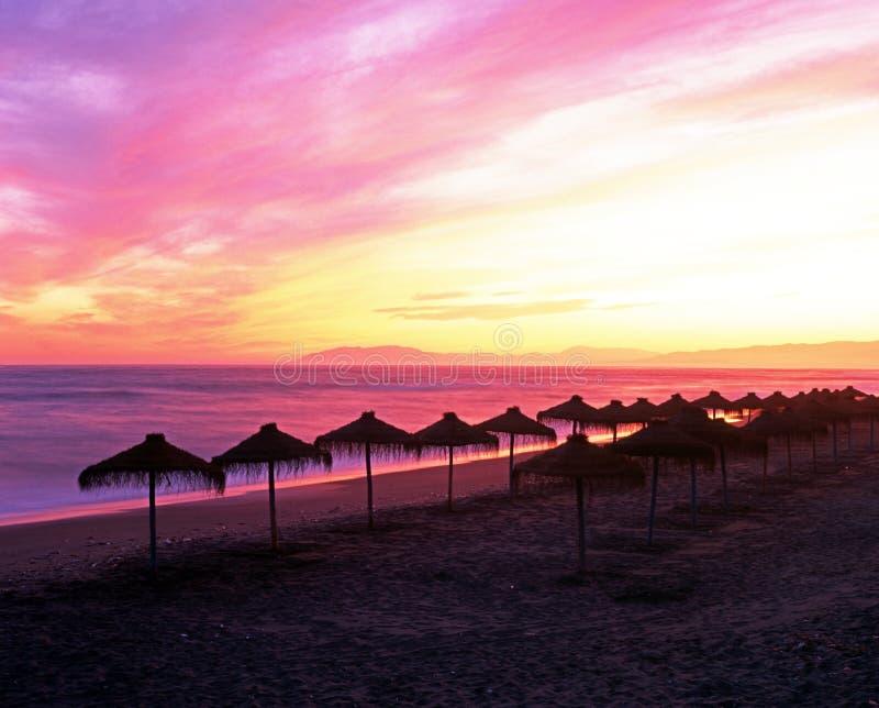 Parasols sur la plage, côte de Torrox, Espagne. photos libres de droits
