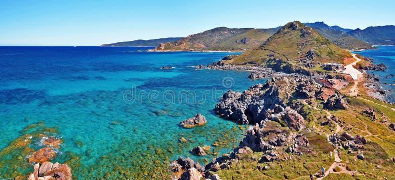 Parata半岛全景在西可西嘉岛 库存图片