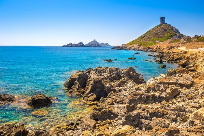 Parata半岛,可西嘉岛,法国热那亚人的塔  库存图片