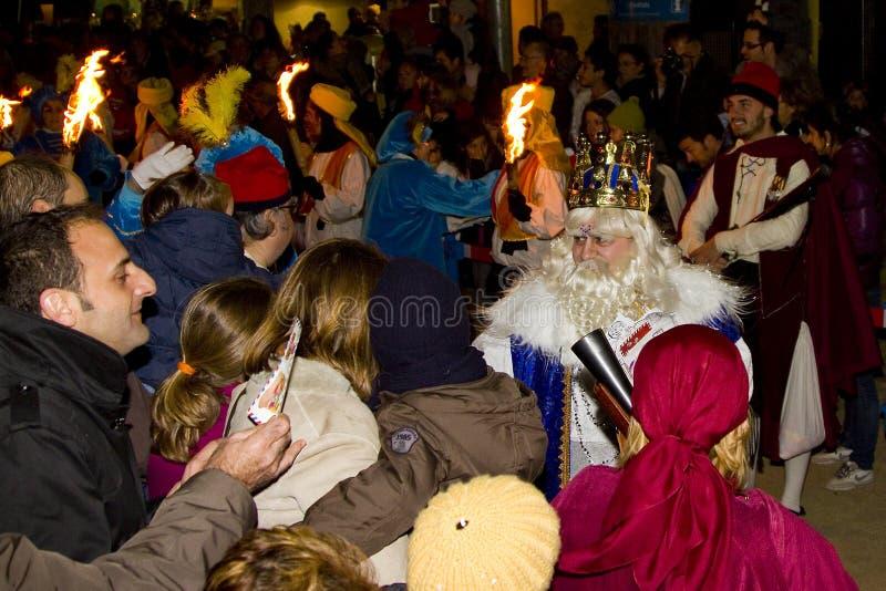 Parata biblica dei Magi in Spagna immagini stock