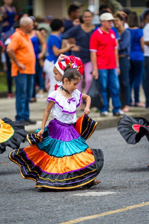 Parata di festa dell'indipendenza, Costa Rica fotografia stock libera da diritti