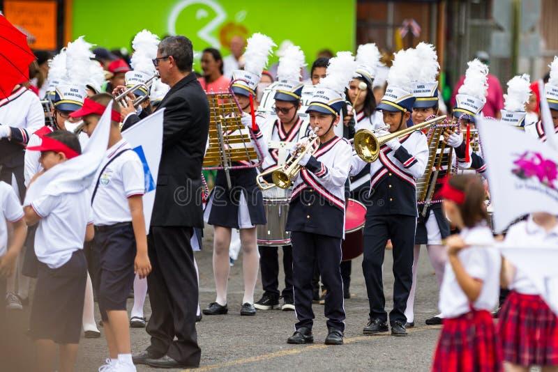 Parata di festa dell'indipendenza, Costa Rica fotografie stock libere da diritti