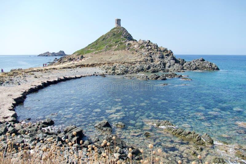 The Parata Tower and beach in the Sanguinaire Road, Ajaccio, Corsica Island. stock photo