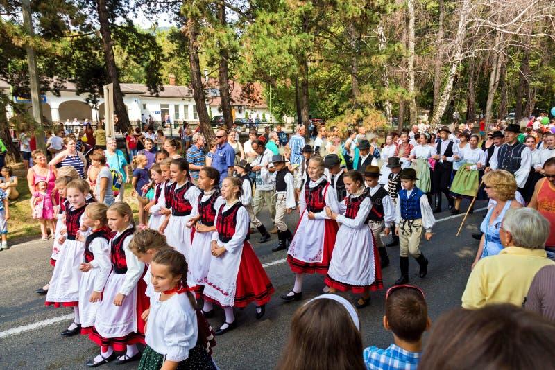 Parata ungherese tradizionale del raccolto l'11 settembre 2016 in vi fotografie stock