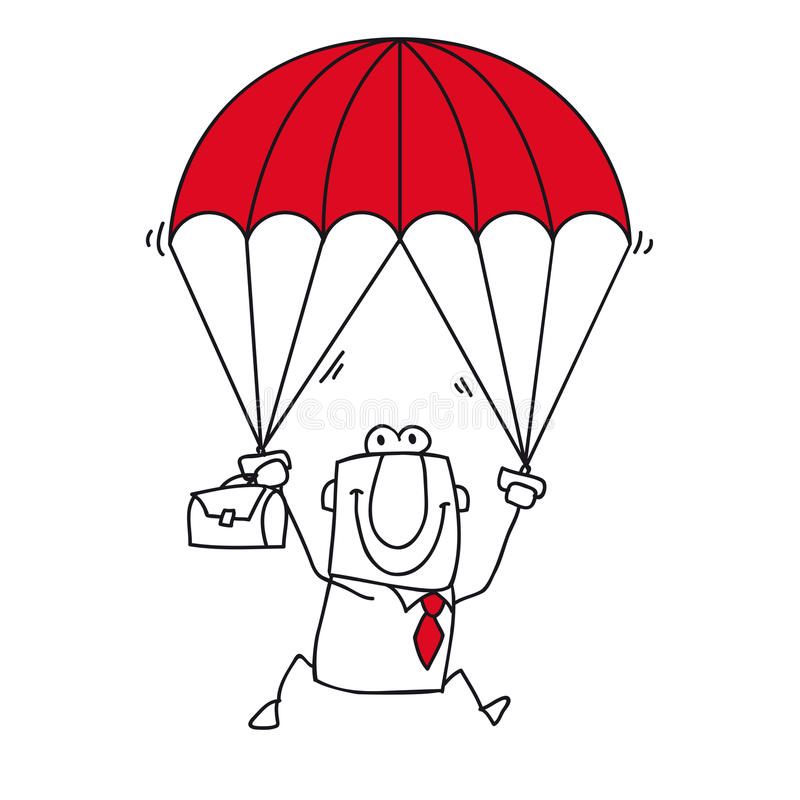 Paratrooper businessman stock illustration