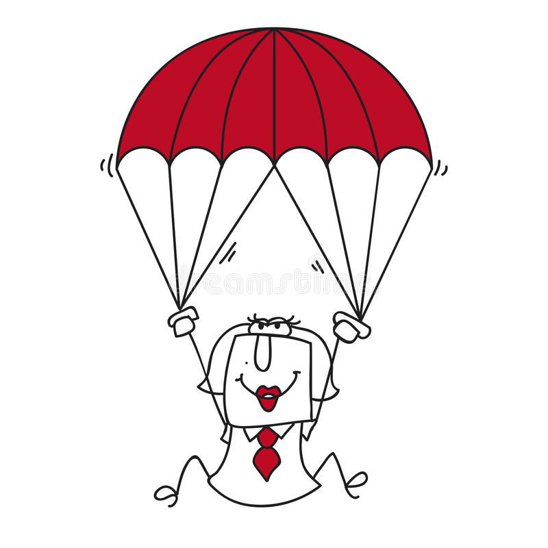 Paratrooper businesswoman stock illustration