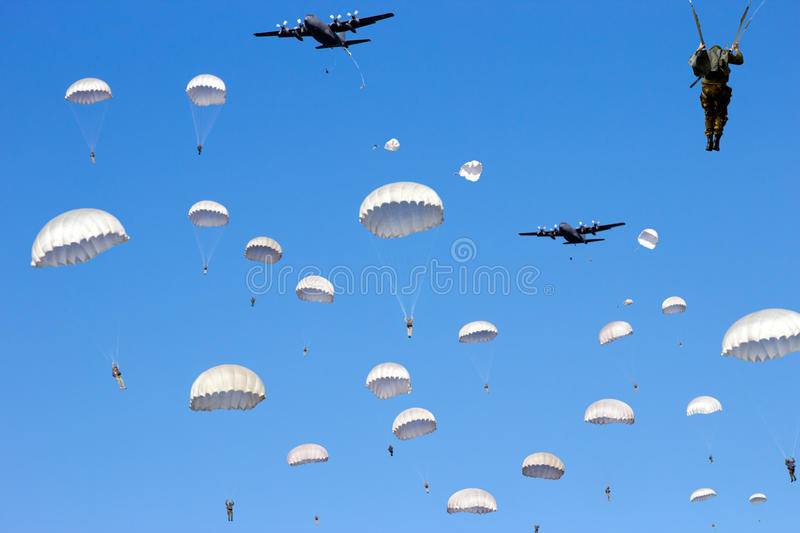 Paratrooper Invasion Royalty Free Stock Photo