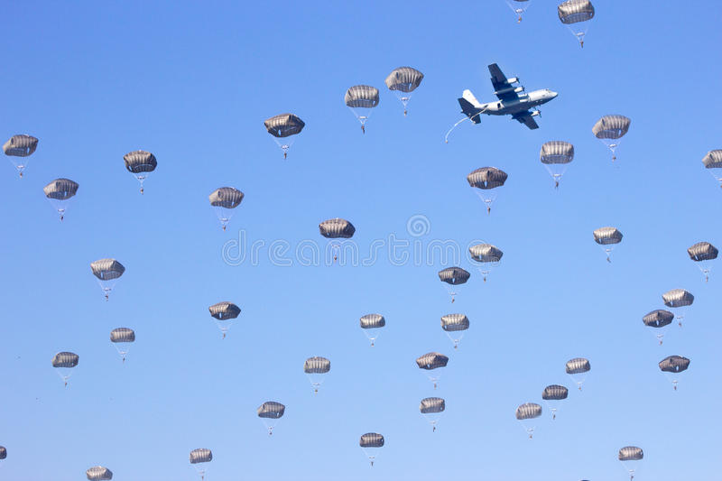 Paratroopers. Lot's of para troopers in the sky stock photo