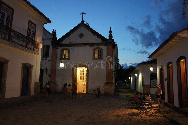 Paraty, Brasilien in der Nacht lizenzfreie stockfotografie