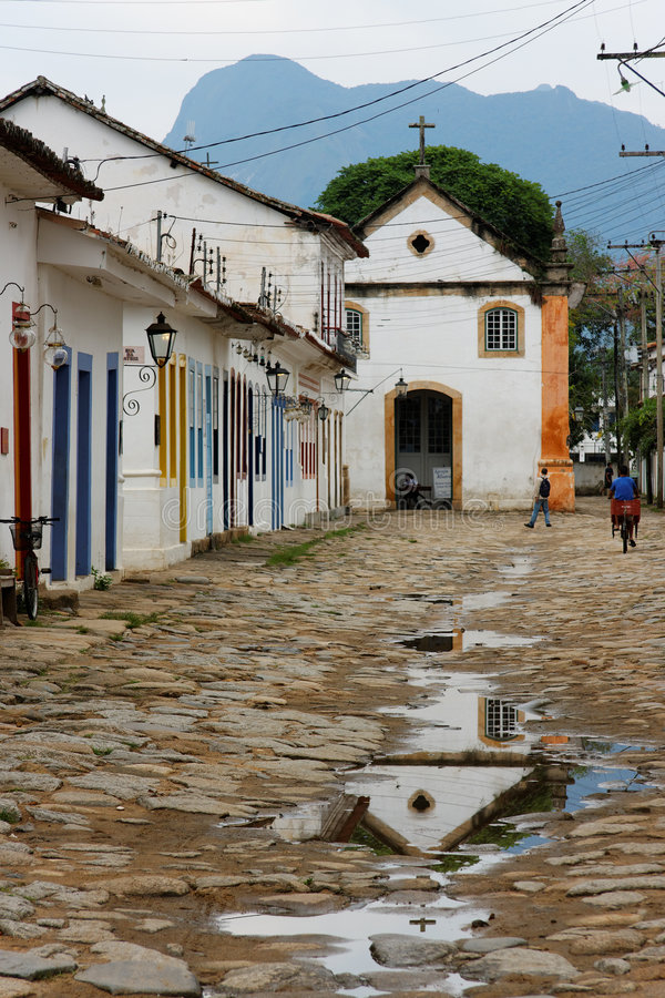 Paraty Historical Buildings and Rosario Church stock photo