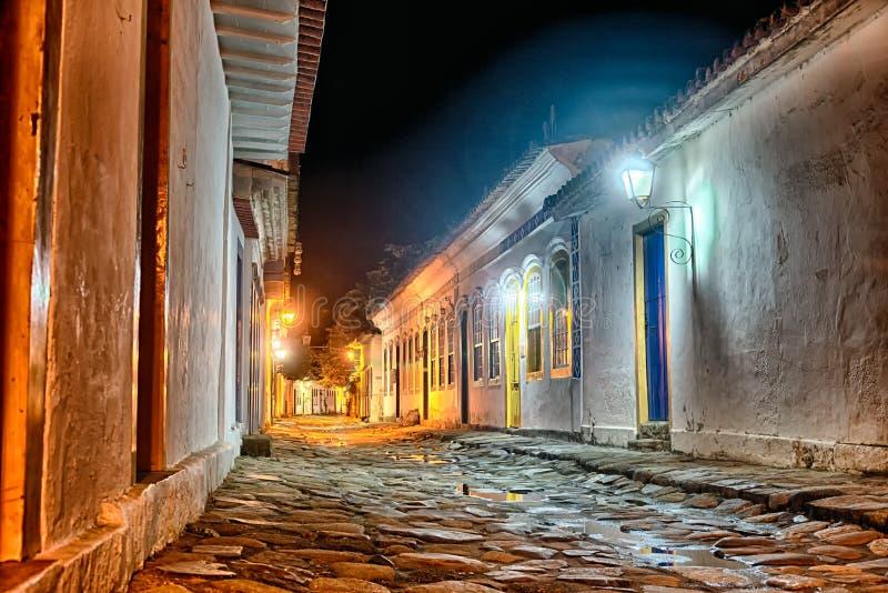 Paraty streets at night stock image