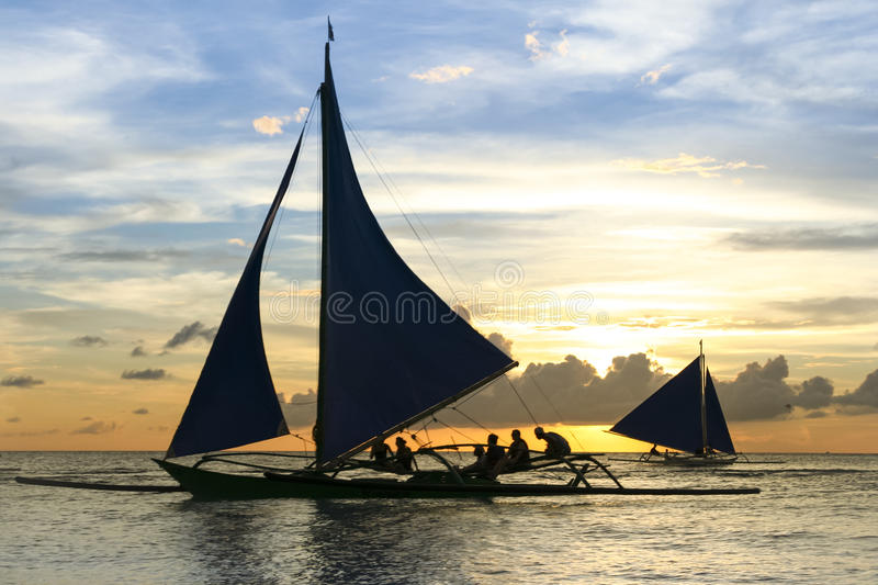 Paraw outrigger sunset tour boracay philippines stock image
